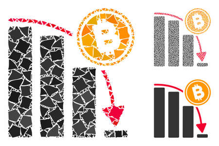 Bitcoin epic fail chart mosaic of abrupt items in various sizes and color tones, based on Bitcoin epic fail chart icon. Vector uneven items are organized into mosaic.