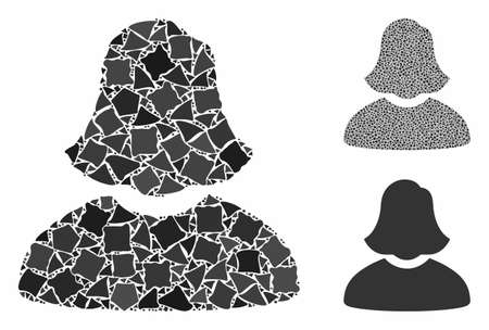 Woman composition of humpy pieces in different sizes and color tints, based on woman icon. Vector humpy pieces are united into collage. Woman icons collage with dotted pattern.