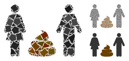 Family shit mosaic of inequal items in variable sizes and color hues, based on family shit icon. Vector bumpy items are combined into mosaic. Family shit icons collage with dotted pattern.