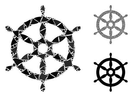 Ship wheel composition of rough elements in variable sizes and color tinges, based on ship wheel icon. Vector rugged elements are composed into collage. Ship wheel icons collage with dotted pattern. Çizim