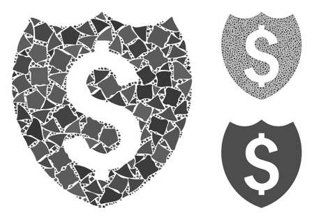 Banking insurance mosaic of bumpy pieces in different sizes and color tinges, based on banking insurance icon. Vector joggly pieces are grouped into collage.