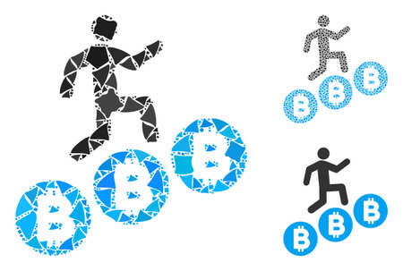 Person climb Bitcoins composition of inequal items in variable sizes and color tinges, based on person climb Bitcoins icon. Vector inequal pieces are grouped into collage.