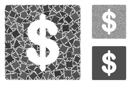 Financial composition of ragged parts in variable sizes and color tints, based on financial icon. Vector rugged parts are combined into collage. Financial icons collage with dotted pattern.