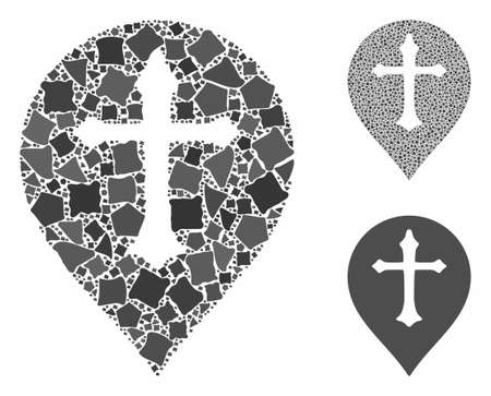 Christian cross marker composition of tremulant parts in various sizes and shades, based on Christian cross marker icon. Vector joggly parts are organized into composition.