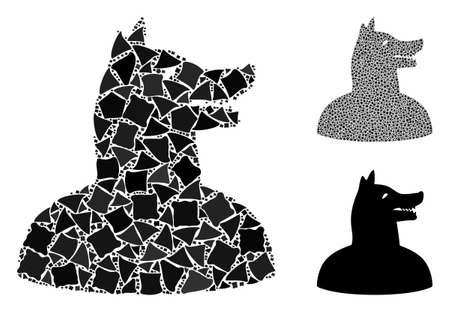 Man dog mosaic of trembly parts in different sizes and shades, based on man dog icon. Vector unequal parts are combined into mosaic. Man dog icons collage with dotted pattern. Illustration