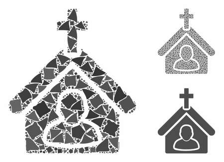 Church person composition of tuberous elements in various sizes and color hues, based on church person icon. Vector tuberous pieces are organized into collage. Stockfoto - 133194654