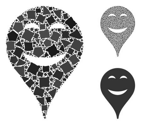 Pleasure smiley map marker composition of bumpy parts in variable sizes and color tones, based on pleasure smiley map marker icon. Vector bumpy parts are grouped into composition.