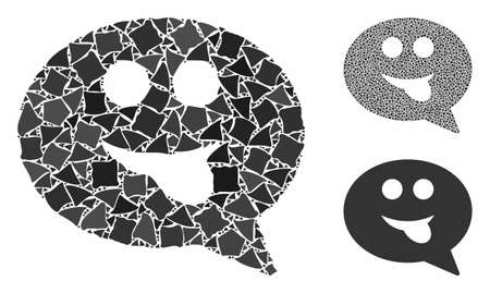 Tongue smiley message composition of humpy pieces in various sizes and color tinges, based on tongue smiley message icon. Vector abrupt pieces are grouped into collage. 일러스트