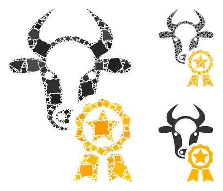 Cow award composition of tuberous elements in different sizes and color hues, based on cow award icon. Vector trembly elements are united into illustration.