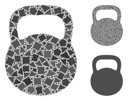 Weight iron mosaic of unequal parts in variable sizes and color hues, based on weight iron icon. Vector inequal parts are composed into mosaic. Weight iron icons collage with dotted pattern. Illustration