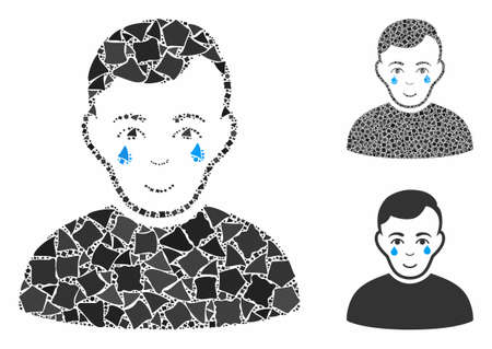 Crying boy mosaic of rugged pieces in different sizes and shades, based on crying boy icon. Vector rugged items are combined into collage. Crying boy icons collage with dotted pattern. Ilustração