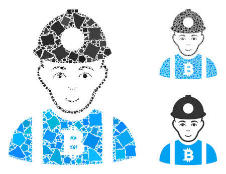 Bitcoin miner composition of humpy items in various sizes and color tinges, based on Bitcoin miner icon. Vector humpy items are organized into illustration.