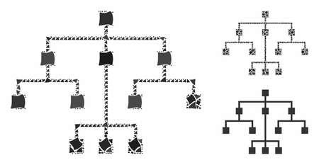 Mosaico de árbol algorítmico de piezas jorobadas en diferentes tamaños y matices de color, basado en el icono del árbol algorítmico. Las piezas jorobadas del vector se componen en collage.