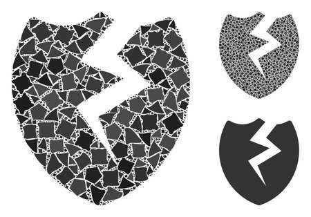 Broken shield mosaic of joggly pieces in variable sizes and color tinges, based on broken shield icon. Vector joggly pieces are united into collage. Broken shield icons collage with dotted pattern.