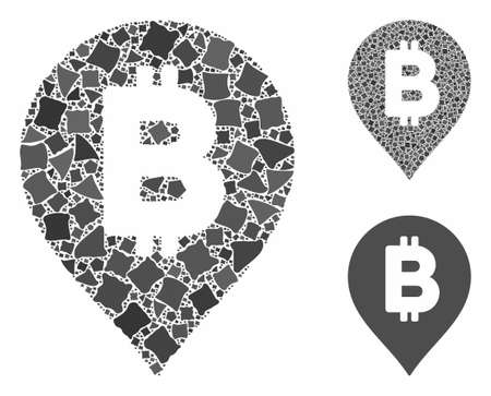 Bitcoin map marker composition of irregular pieces in various sizes and color hues, based on Bitcoin map marker icon. Vector humpy pieces are composed into composition.