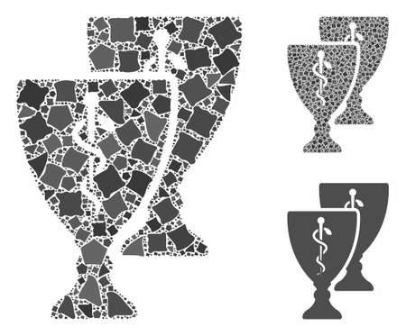 Medical award cups mosaic of rugged parts in variable sizes and color tints, based on medical award cups icon. Vector bumpy parts are united into mosaic.