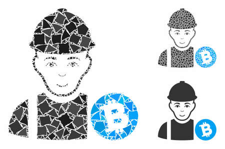 Bitcoin miner mosaic of humpy items in different sizes and color tinges, based on Bitcoin miner icon. Vector tuberous items are united into mosaic. Bitcoin miner icons collage with dotted pattern. Stock Illustratie