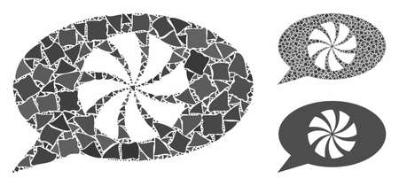 Refresh message mosaic of raggy elements in various sizes and color hues, based on refresh message icon. Vector abrupt parts are united into mosaic. Refresh message icons collage with dotted pattern.