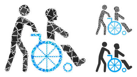 Disabled person transportation mosaic of rough pieces in variable sizes and color tones, based on disabled person transportation icon. Vector abrupt elements are organized into collage. Ilustrace