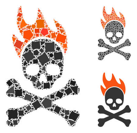 Death fire mosaic of bumpy elements in variable sizes and color tints, based on death fire icon. Vector ragged items are grouped into mosaic. Death fire icons collage with dotted pattern. Ilustração