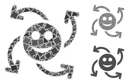 Mosaïque de flèches de tourbillon de sourire d'éléments tremblants de différentes tailles et nuances, basée sur l'icône de flèches de tourbillon de sourire. Les parties abruptes vectorielles sont organisées en mosaïque.