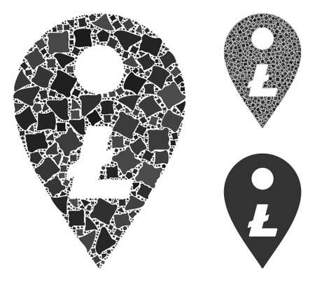 Litecoin map marker composition of joggly pieces in different sizes and shades, based on Litecoin map marker icon. Vector bumpy pieces are grouped into collage.