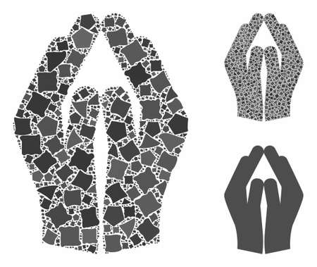 Pray hands mosaic of ragged elements in different sizes and color tinges, based on pray hands icon. Vector ragged parts are organized into collage. Pray hands icons collage with dotted pattern. Illustration