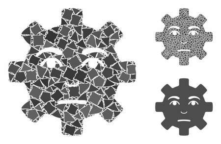 Pity service gear smiley composition of rough items in variable sizes and shades, based on pity service gear smiley icon. Vector rough parts are organized into composition.