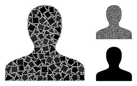 Client mosaic of inequal pieces in variable sizes and shades, based on client icon. Vector bumpy pieces are combined into collage. Client icons collage with dotted pattern. Archivio Fotografico - 133123222