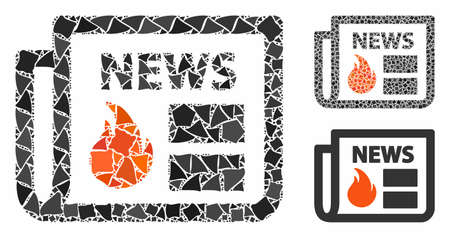Hot news composition of irregular items in variable sizes and color tones, based on hot news icon. Vector rough items are composed into composition. Hot news icons collage with dotted pattern.