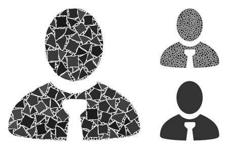 Manager composition of bumpy items in different sizes and shades, based on manager icon. Vector bumpy elements are composed into composition. Manager icons collage with dotted pattern.