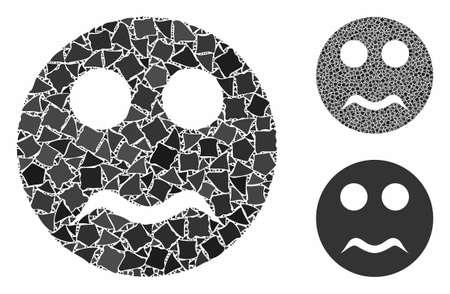 Serious smiley mosaic of irregular parts in different sizes and color tinges, based on serious smiley icon. Vector bumpy parts are combined into collage. Ilustração