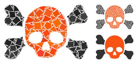 Skull and bones composition of bumpy parts in variable sizes and color tints, based on skull and bones icon. Vector tuberous parts are composed into collage.