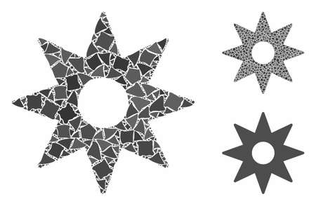 New star sticker mosaic of tremulant items in variable sizes and color tones, based on new star sticker icon. Vector tremulant dots are organized into collage.