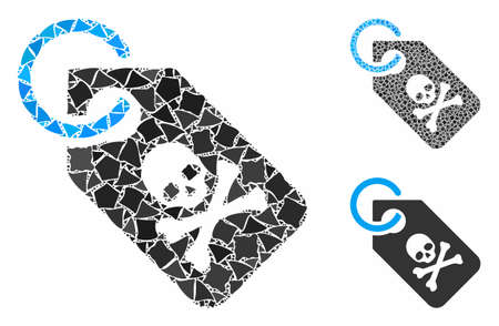 Death tag composition of tremulant items in variable sizes and color tints, based on death tag icon. Vector ragged items are grouped into collage. Death tag icons collage with dotted pattern. Ilustração