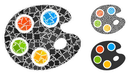 Color palette mosaic of trembly pieces in various sizes and color hues, based on color palette icon. Vector bumpy pieces are organized into collage. Color palette icons collage with dotted pattern. 矢量图像