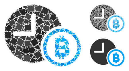 Bitcoin credit clock mosaic of tremulant items in various sizes and color tones, based on Bitcoin credit clock icon. Vector raggy items are combined into mosaic. 矢量图像