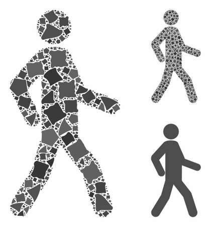 Walking man mosaic of rough elements in different sizes and shades, based on walking man icon. Vector uneven elements are united into mosaic. Walking man icons collage with dotted pattern.