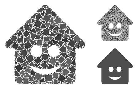 Happy home composition of rough parts in different sizes and color tints, based on happy home icon. Vector rough parts are organized into illustration. Happy home icons collage with dotted pattern.