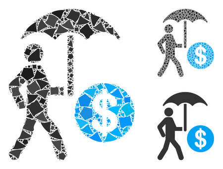 Financial umbrella protection composition of tuberous parts in various sizes and color tones, based on financial umbrella protection icon. Vector inequal items are organized into composition. Illustration