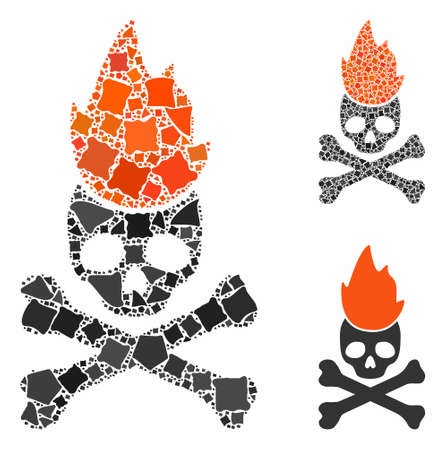 Hell fire mosaic of unequal items in various sizes and shades, based on hell fire icon. Vector tuberous items are organized into mosaic. Hell fire icons collage with dotted pattern.