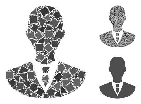 Manager mosaic of abrupt items in variable sizes and color tones, based on manager icon. Vector abrupt items are united into collage. Manager icons collage with dotted pattern. Çizim