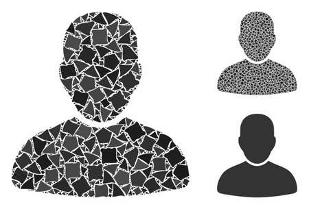 Customer composition of tremulant pieces in variable sizes and color tints, based on customer icon. Vector ragged pieces are composed into composition. Customer icons collage with dotted pattern. Archivio Fotografico - 133239808