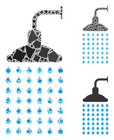 Shower mosaic of rough elements in variable sizes and color hues, based on shower icon. Vector rough parts are composed into collage. Shower icons collage with dotted pattern.