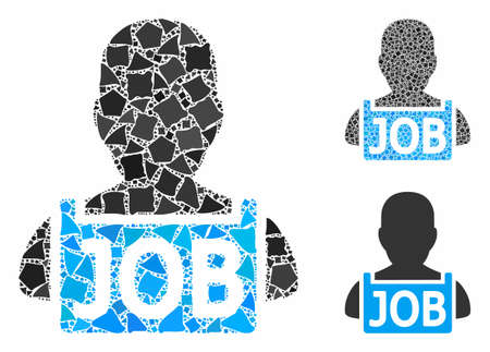 Unemployed mosaic of irregular elements in different sizes and color tones, based on unemployed icon. Vector rough parts are united into collage. Unemployed icons collage with dotted pattern.