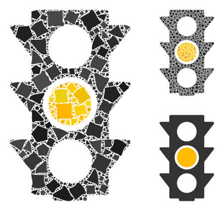 Yellow traffic lights composition of ragged parts in different sizes and color tinges, based on yellow traffic lights icon. Vector ragged parts are composed into composition. Ilustração