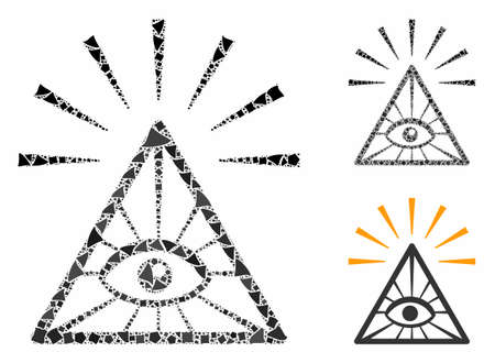 Total control eye pyramid mosaic of tremulant elements in different sizes and shades, based on total control eye pyramid icon. Vector bumpy elements are composed into mosaic.