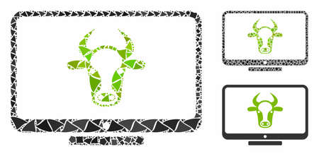Cattle monitor mosaic of bumpy parts in variable sizes and color tinges, based on cattle monitor icon. Vector raggy items are organized into collage. Cattle monitor icons collage with dotted pattern. 向量圖像