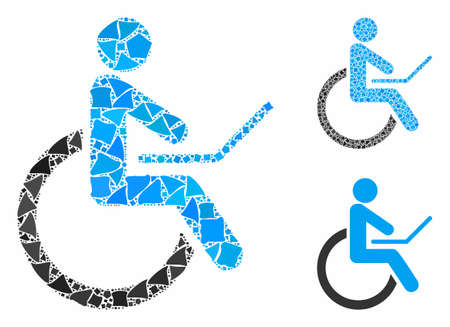 Wheelchair mosaic of inequal parts in variable sizes and color tones, based on wheelchair icon. Vector inequal dots are composed into collage. Wheelchair icons collage with dotted pattern.