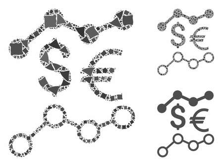 Currency trends mosaic of joggly elements in various sizes and color tinges, based on currency trends icon. Vector bumpy elements are grouped into collage. 矢量图像